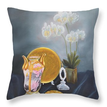 Nippon And Orchids Throw Pillow