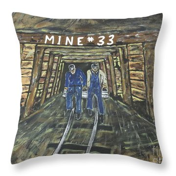 No Windows Down There In The Coal Mine .  Throw Pillow