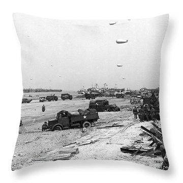 Normandy Beach Supplies Throw Pillow