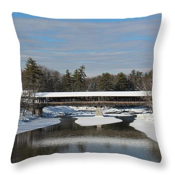 North Conway Covered Bridge  Throw Pillow