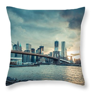 Nyc Skyline In The Sunset V1 Throw Pillow by Hannes Cmarits