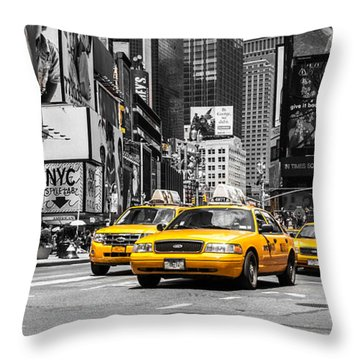 Nyc Yellow Cabs - Ck Throw Pillow