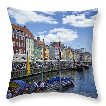 Nyhavn - Copenhagen Denmark Throw Pillow by Jon Berghoff