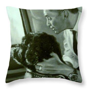 Obama And Bo Throw Pillow