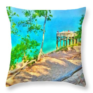 Observation Deck On The Pierce Stocking Scenic Drive Throw Pillow
