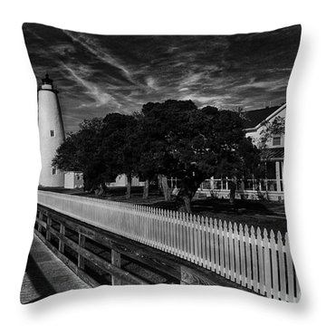 Ocracoke Lighthouse Throw Pillow by Tony Cooper