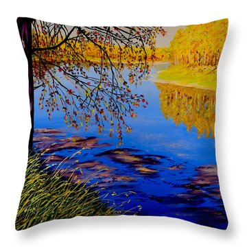 Throw Pillow featuring the painting October Afternoon by Sher Nasser