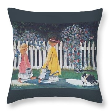 Off To The Garden Throw Pillow by Catherine Swerediuk