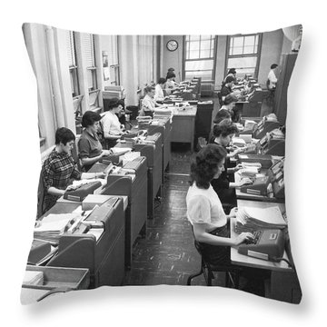 Office Workers Entering Data Throw Pillow by Underwood Archives