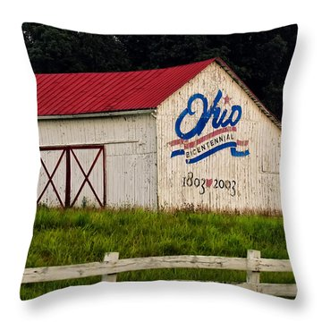 Ohio Bicentennial Barn Throw Pillow