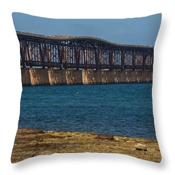 Old Bahia Honda Bridge Throw Pillow