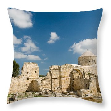 Old Church Anogyra  Throw Pillow by Jeremy Voisey