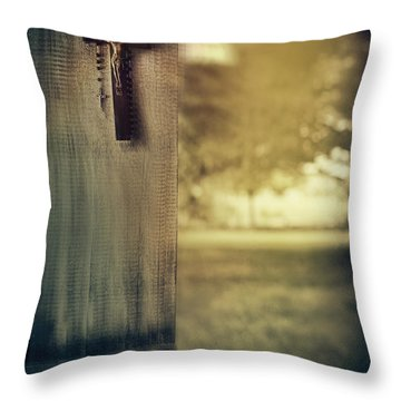 Old Cross Of Window Shutter Door Throw Pillow by Sandra Cunningham