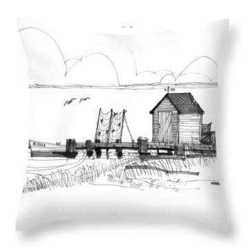 Old Fishermans Wharf Throw Pillow