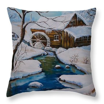 Throw Pillow featuring the painting Old Grist Mill  by Sharon Duguay