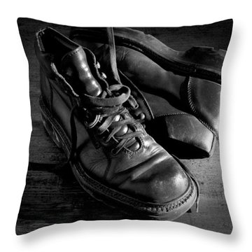 Old Leather Shoes Throw Pillow by Fabrizio Troiani