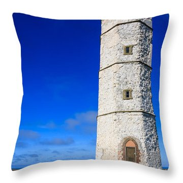Old Lighthouse Flamborough Throw Pillow