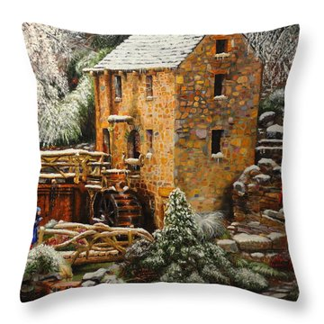 Old Mill In Winter Throw Pillow