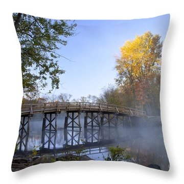 Old North Bridge Concord Throw Pillow by Brian Jannsen