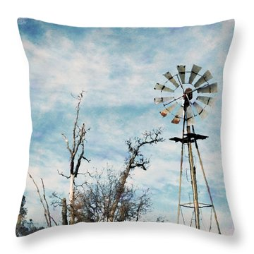 Old West Wind Wheel Throw Pillow by William Havle