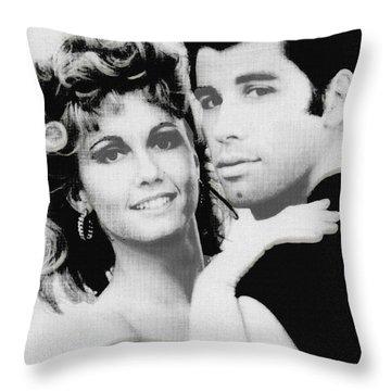 Olivia Newton John And John Travolta In Grease Collage Throw Pillow