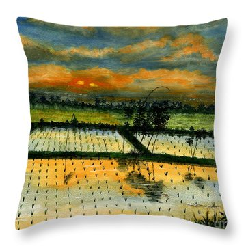 Throw Pillow featuring the painting On The Way To Ubud Iv Bali Indonesia by Melly Terpening