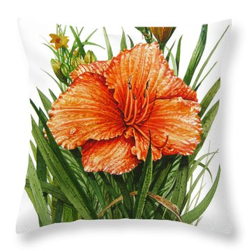 Orange Lily Throw Pillow by Bob  George