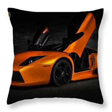 Orange Murcielago Throw Pillow