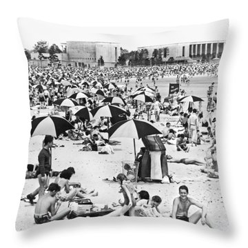 Orchard Beach In The Bronx Throw Pillow by Underwood Archives
