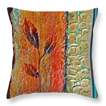 Organic With Leaves Throw Pillow