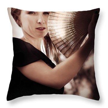 Oriental Fan Woman Throw Pillow