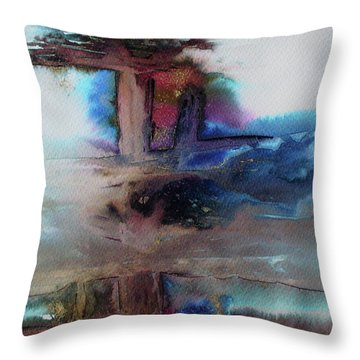 Throw Pillow featuring the painting Out Of The Mist by Mary Sullivan