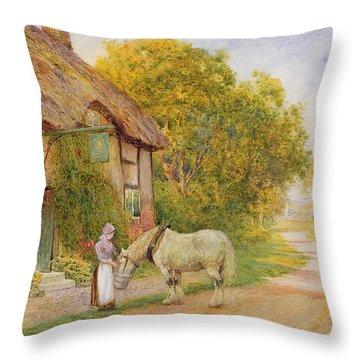 Outside The Village Inn Throw Pillow by Arthur Claude Strachan