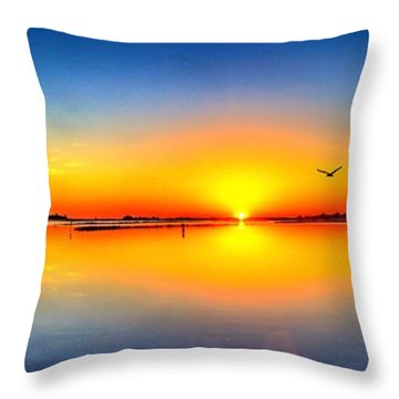 Throw Pillow featuring the photograph Oyster Landing Sunrise by Ed Roberts