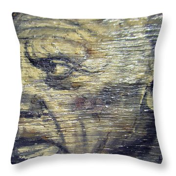Pablo Picasso Face Portrait - Painting On The Wood Throw Pillow by Nenad Cerovic