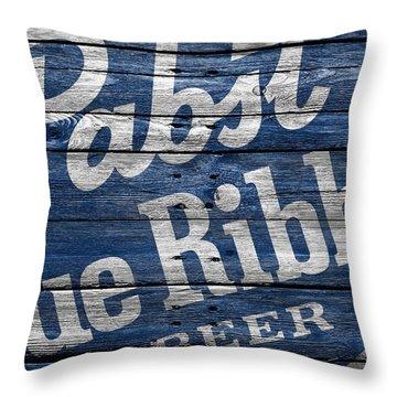 Pabst Blue Ribbon Throw Pillow by Joe Hamilton