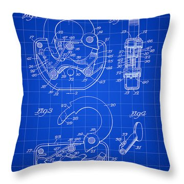 Padlock Patent 1935 - Blue Throw Pillow