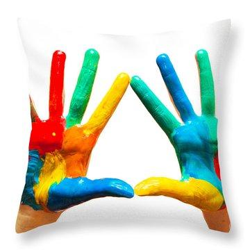 Painted Hands Throw Pillow by Michal Bednarek