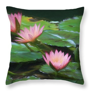 Painted Lilies Throw Pillow