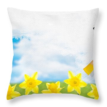 Painting Daffodils Throw Pillow by Amanda Elwell