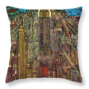New York Mid Manhattan 1971 Throw Pillow