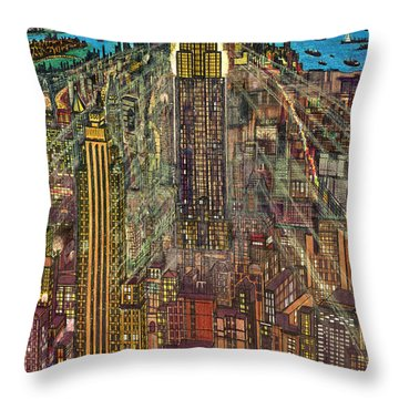 New York Mid Manhattan 1971 Throw Pillow
