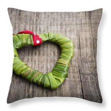 Palm Leaf Heart Throw Pillow