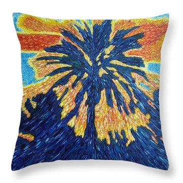 Palm Tree In Rising Sun Throw Pillow