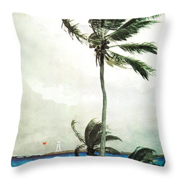 Throw Pillow featuring the painting Palm Tree Nassau by Celestial Images