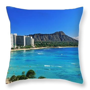 Palm Trees On The Beach, Diamond Head Throw Pillow