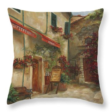 Panini Cafe' Throw Pillow by Chris Brandley
