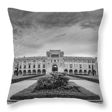 Panorama Of Rice University Academic Quad Black And White - Houston Texas Throw Pillow