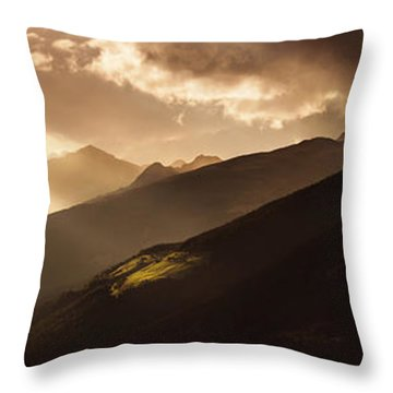 Panoramic View Of Dolomite Alps Throw Pillow by Evgeny Kuklev