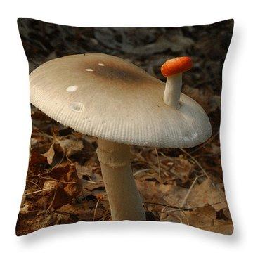 Parasol Mushroom Macrolepiota Sp Throw Pillow by Susan Leavines
